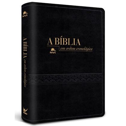 Bíblia em Ordem Cronológica   NVI Letra Normal   Capa Luxo Preta Textura
