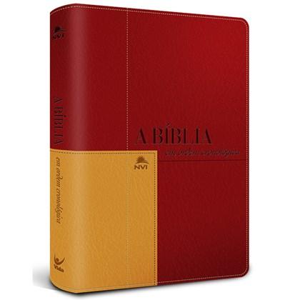 Bíblia em Ordem Cronológica   NVI Letra Normal   Capa Luxo Vermelho / Mostarda