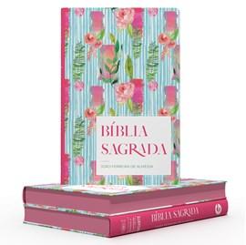Bíblia Flor Listrada | ARC | Letra Gigante | Capa Semi-Luxo