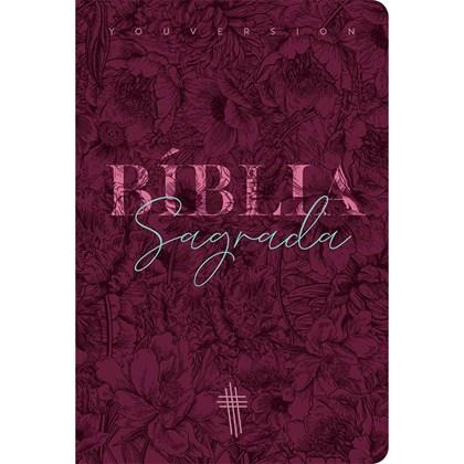 Bíblia Floral Mix Vinho YouVersion | NTLH | Letra Média | Capa Soft-Touch