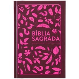 Bíblia Folhas Pink | NVT | Letra Normal | Capa Dura