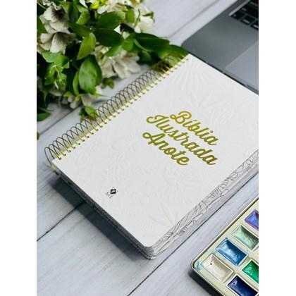 Bíblia Ilustrada Anote Tela Branca   NVT   Letra Normal   Capa Dura Espiral