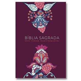 Bíblia Indian Flowers | NVT Letra Grande | Capa Soft Touch Vinho