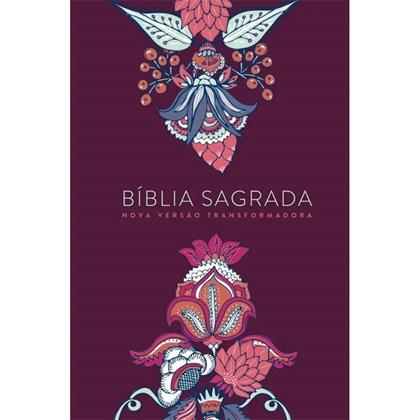 Bíblia Indian Flowers   NVT Letra Grande   Capa Soft Touch Vinho