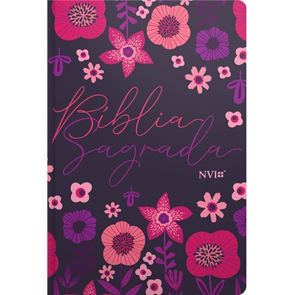 Bíblia Jardim Floral Roxa | NVI | Letra Normal | Capa Flexível