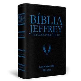 Bíblia Jeffrey de Estudos Proféticos King James | BKJ 1611 | Letra Normal | Capa Luxo Preta e Azul