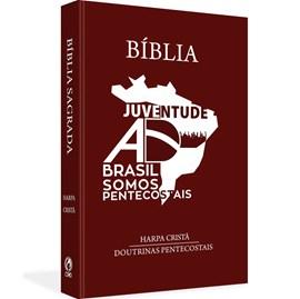 Bíblia Juventude AD do Brasil | ARC | Letra Normal | Harpa Cristã | Capa Dura Marrom