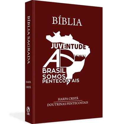 Bíblia Juventude AD do Brasil   ARC   Letra Normal   Harpa Cristã   Capa Dura Marrom