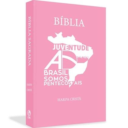 Bíblia Juventude AD do Brasil   ARC   Letra Normal   Harpa Cristã   Capa Dura Rosa