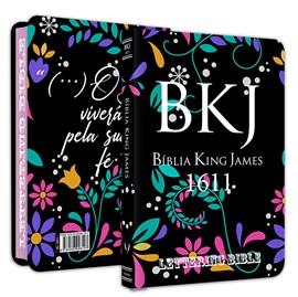Bíblia King James 1611 Ultra Fina Lettering Bible | Letra Normal | Capa Floral