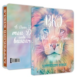 Bíblia King James 1611 Ultra Fina Lettering Bible | Letra Normal | Capa Leão Tie Dye