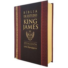 Bíblia King James de Estudo Atualizada   KJA   Letra Hiper Gigante   Capa Dura Clássica