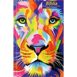 Bíblia Leão Aquarela | ARC | Letra Normal | Harpa e Corinhos | Capa Dura