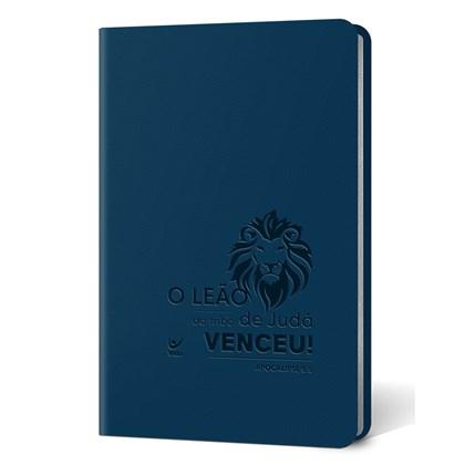 Bíblia Leão   Letra Normal   AEC   Capa PU Azul Luxo