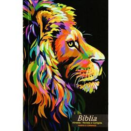 Bíblia Leão Pintura | ARC | Letra Normal | Harpa e Corinhos | Capa Dura