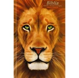Bíblia Leão Retrato | ARC | Letra Normal | Harpa e Corinhos | Capa Dura