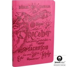 Bíblia Lettering Luxo Rosa | NAA | Jesus Copy | Capa Flexível