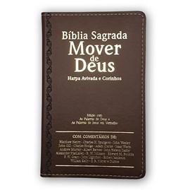 Bíblia Mover de Deus | ARC | Letra Grande | Harpa Avivada e Corinhos | Capa PU Marrom