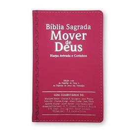 Bíblia Mover de Deus | ARC | Letra Grande | Harpa Avivada e Corinhos | Capa PU Pink
