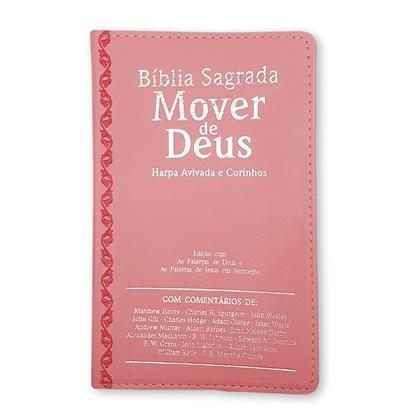Bíblia Mover de Deus | ARC | Letra Grande | Harpa Avivada e Corinhos | Capa PU Rosa