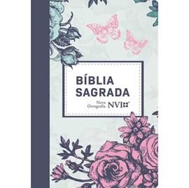 Bíblia NVI Nova Ortografia | Semi Luxo Lilás Floral