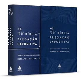 Bíblia Pregação Expositiva | ARA | Letra Normal | PU luxo azul | Hernandes Dias Lopes