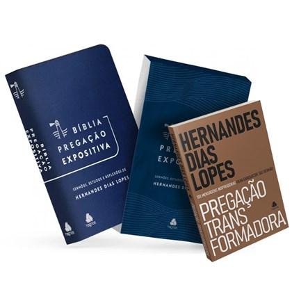 Bíblia Pregação Expositiva   ARA   Letra Normal   PU luxo azul   + Pregação Transformadora Hernandes Dias Lopes
