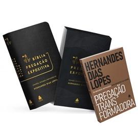 Bíblia Pregação Expositiva | ARA | Letra Normal | PU luxo Preta | + Pregação Transformadora Hernandes Dias Lopes