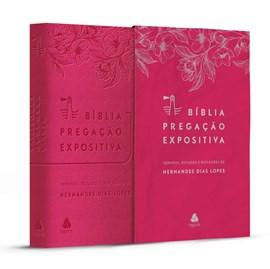 Bíblia Pregação Expositiva | ARA | Letra Normal | PU Luxo Rosa Flores | Hernandes Dias Lopes