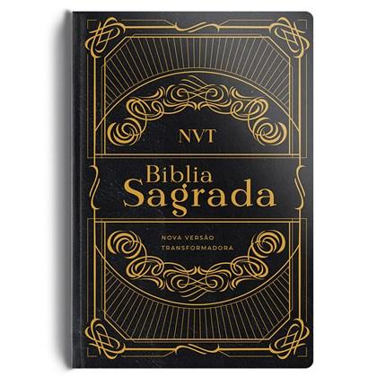 Bíblia Preta e Dourada | NVT | Letra Normal | Capa Dura Luxo