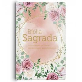 Bíblia Rosas Blush | ARC | Letra Gigante | Dicionário Bíblico e Concordância | Capa Semi-Luxo