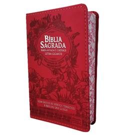 Bíblia Sagrada | ARC | Letra Gigante | PJD | Harpa Avivada e Corinhos | Capa Luxo Floral Vermelha