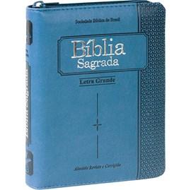 Bíblia Sagrada | ARC | Letra Grande | Capa Azul C/ Zíper e Índice