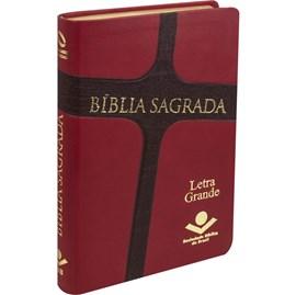 Bíblia Sagrada | ARC | Letra Grande  | Capa Vermelha e Marrom Luxo