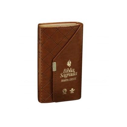 Bíblia Sagrada Carteira com Harpa Cristã | Letra Normal | ARC | Capa Couro Marrom