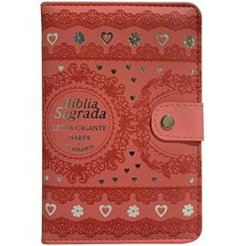 Bíblia Sagrada Carteira Grande   ARC   Letra Grande   Harpa Avivada e Corinhos Capa Rosa