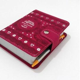Bíblia Sagrada Carteira Média | ARC | Letra Normal | Harpa Avivada e Corinhos Capa Pink