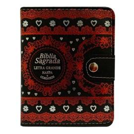 Bíblia Sagrada Carteira Média | ARC | Letra Normal | Harpa Avivada e Corinhos Capa Preta