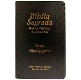 Bíblia Sagrada com Harpa Avivada e Corinhos | ARC | Letra Hipergigante | C/ Índice Capa PU Preta