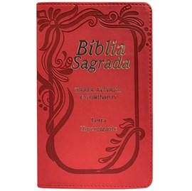 Bíblia Sagrada com Harpa Avivada e Corinhos | ARC | Letra Hipergigante | C/ Índice Capa PU Vermelha Neon