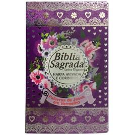 Bíblia Sagrada Com Harpa Avivada e Corinhos | Letra Gigante | ARC | Capa Lílas