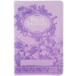 Bíblia Sagrada com Harpa Avivada e Corinhos   Letra Gigante   ARC   Luxo Floral Lílas