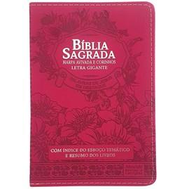 Bíblia Sagrada com Harpa Avivada e Corinhos | Letra Gigante | ARC | Luxo Floral Pink