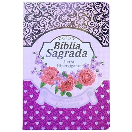 Bíblia Sagrada com Harpa Avivada e Corinhos | Letra Hipergigante | ARC | Luxo Laminada Lilás