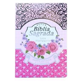 Bíblia Sagrada com Harpa Avivada e Corinhos   Letra Hipergigante   ARC   Luxo Laminada Pink