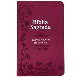 Bíblia Sagrada Com Harpa Avivada e Corinhos | Letra Ultragigante | ARC | Capa PU Pink Flores Luxo