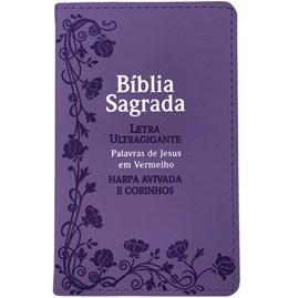 Bíblia Sagrada Com Harpa Avivada e Corinhos | Letra Ultragigante | ARC | PU Lílas Luxo