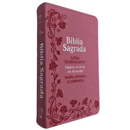 Bíblia Sagrada Com Harpa Avivada e Corinhos   Letra Ultragigante   ARC   PU Rosa Luxo