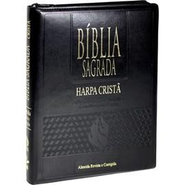Bíblia Sagrada com Harpa Cristã | ARC | Letra Gigante | Capa Preta C/ Índice e Zíper
