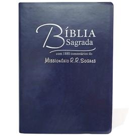 Bíblia Sagrada Comentada Missionário R R Soares   ARC  Letra Grande   Capa Luxo Azul